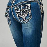 Cello Medium denim faded bootcut jeans with backflap pockets