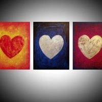 "View: painting abstract wall art triptych panel of 3 "" Three of Hearts "" v2 impasto multi coloured silver gold heart romantic painting contemporary modern art abstraction expression acrylic 3 sizes available 48 x 20"" 