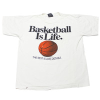 """Vintage 1992 Big Ball Sports """"Basketball is Life"""" Tee Made in USA Mens Size Large"""