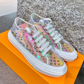 Louis Vuitton LV printed letters ladies jelly transparent casual sneakers Laser transparent