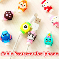 Cute Lovely Cartoon 8 Pin Cable Protector de cabo USB Cable Cover Case Shell For IPhone 5 5s 6 6s 6splus cable Protect stitch