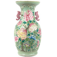A Qing Dynasty Canton Rose Baluster Vase with Coral Handles