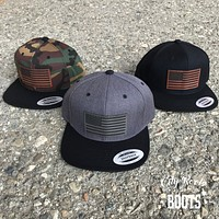 American Flag Leather Patch Snapback Flat Bill Hat