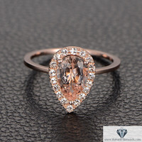 14K Rose Gold Halo Pear Shape Pave Diamond Engagement Ring