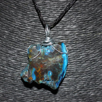 Wire Wrapped Blue Agate Stone Slice Pendant Necklace