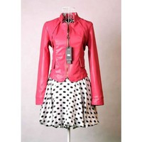 Rose Standing Collar Locomotive Jacket Women Leather  Outerwear@XVR905ro