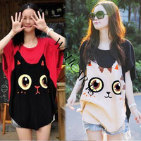 Women Loose Big Size Bat Sleeve T-shirt Cat Pattern Round Collar 17224