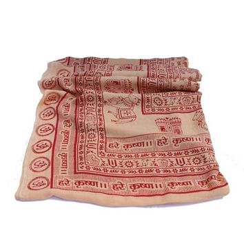 Meditation Yoga Prayer Shawl - Maha Mantra - Peach Large