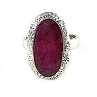 Ruby Sterling Silver Oval Ring