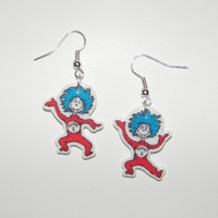 New Dr Suess Thing 1 and Thing 2  Novelty Earrings Dr Seuss