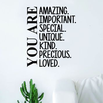 You Are Amazing Important Special Decal Sticker Wall Vinyl Art Wall Bedroom Room Home Decor Inspirational Kids Baby Nursery