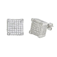 Sterling Silver Stud Earrings Micropave Fancy 3d Square Cube Design 10mm x 10mm