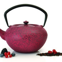 STUDIO Dark Red Classic Cast Iron Teapot with Infuser 1.4 Qt. (1.3 L)