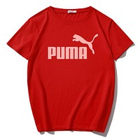 PUMA Fashion New Bust Letter Print Women Men Sports Leisure Top T-Shirt Red