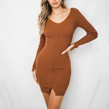V neck bodycon knitted sweater dress Sexy split casual long sleeve knitted dress Women dresses female