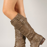 Wild Diva Lounge Sonya-01 Buckle Lace Up Military Knee High Boot