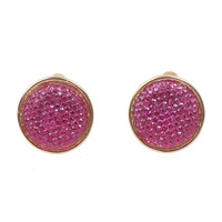 Pink Textured Crystal Post Earring Set