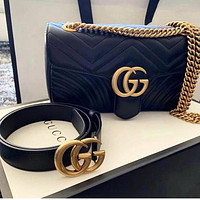 GG classic ladies messenger bag solid color men's and women's letter buckle belt Black