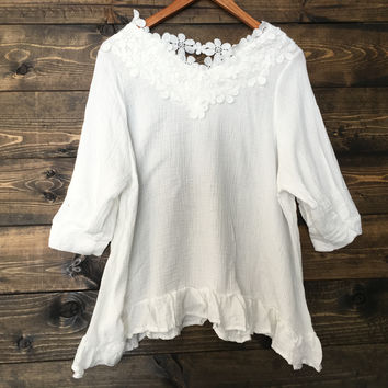 Lost Highway Boho White Lace Blouse