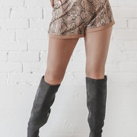 Thin Ice Brown Snakeskin Shorts