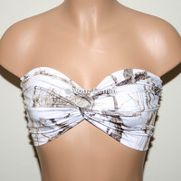Snow Camo Bandeau Top, Swimwear Bikini Top, Twisted Top Bathing Suits, Spandex Bandeau Bikini