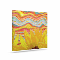 """Suzanne Carter """"Sunflower Dreaming """" Yelllow Teal Canvas Art"""