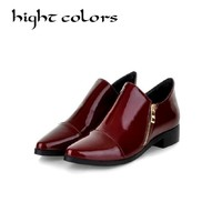 Fashion Patent Leather Pointed Toe Women Casual Flats Ladies Patchwork Side Zipper Flat Oxford Shoes New England Style Oxfords