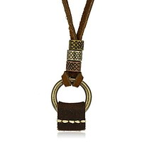 Stainless Steel Vintage Tribal Antique Ring Pendant with Genuine Leather Adjustable Necklace