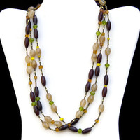 Sparkling Yellow Green Marsala Multi-Strand Necklace, Extra Long Boho Chic Wrap Necklace, Crystal Glass Jasper, Unique Handmade, ALFAdesigns