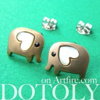Small Elephant Earrings in Dark Silver with Heart Ears - ALLERGY FREE by Dotoly