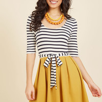 In the Very Near Twofer Striped Dress in Marigold