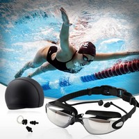 Three Sets High-Definition Waterproof Anti-fog Swimming Goggles Men Women Big Box Goggles Swimming Cap + Earplugs Nose Clip Suit