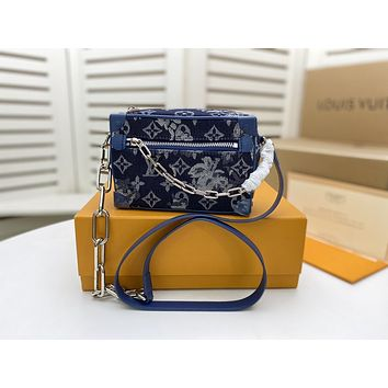 LV Louis Vuitton M44480 Monogram Tapestry Dauphine TRUNK CLUTCH INCLINED SHOULDER BAG TOTE BLUE