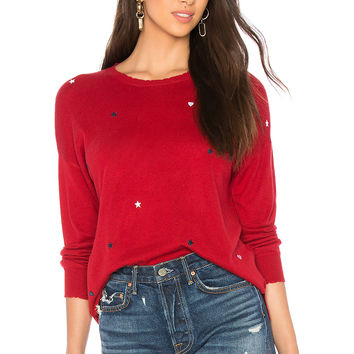 SUNDRY Star Patches Cashmere Blend Crew Neck Sweater in Ruby