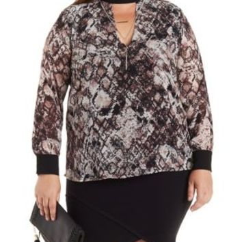 Plus Size Snake Plunging Cut-Out skin Print Top by Charlotte Russe