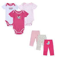 6 Pcs/lot 2016 Toddler Baby Clothing Sets Summer Outfits Baby's Sets Print Baby Romper Pants Lovley Boy Girl Baby Clothes Set
