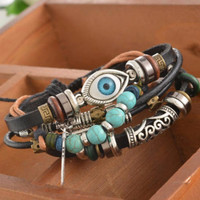 Unisex Ethnic Leather Evil Eye Charm Bracelet Set