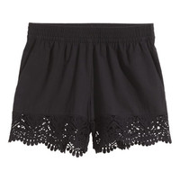H&M Lace-trimmed Cotton Shorts $24.99