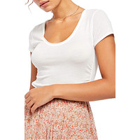Free People Womens Sonnet Ruched Scoop Neck T-Shirt, Choose Sz/Color