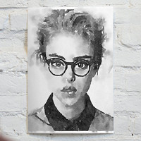 Watercolor Black and White portrait - Unframed Canvas Paper, 10 x 12 Print - by MrNobody (signed with certificate)