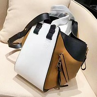 Loewe fashion lady casual patchwork color shoulder bag hot selling simple shopping bag White+Brown