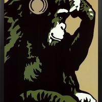 Professionally Framed Steez (Monkey Thinker) Art Poster Print - 24x36 with Solid Black Wood Frame