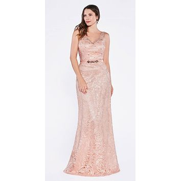 Cinderella Divine 1420 Long Beaded Lace Peach Sheath Dress Sleeveless