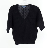 RALPH LAUREN Black Cotton Chunky Cable Knit Short Sleeved V-Neck Sweater Size S