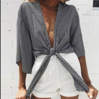 New hot - selling striped bow-tie tops for women's wear
