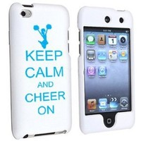 Apple iPod Touch 4th Generation White Rubber Hard Case Snap on 2 piece Light Blue Keep Calm and Cheer On