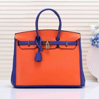 Hermes Fashionable Women Shopping Bag Leather Handbag Tote Shoulder Bag 5# Orange