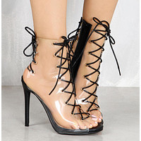 Crisscross Strappy Women Fashion Transparent Stiletto High Heels Shoes
