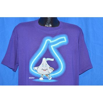 90s Hershey's Chocolate Kiss Neon Sign Purple t-shirt Extra-Large