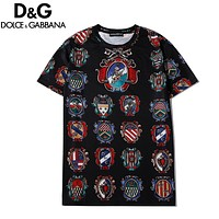 Dolce & Gabbana Summer New Fashion More Badge Print Women Men Top T-Shirt Black